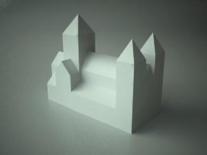 Modell av Hamar domkirke (bakside) - del 1